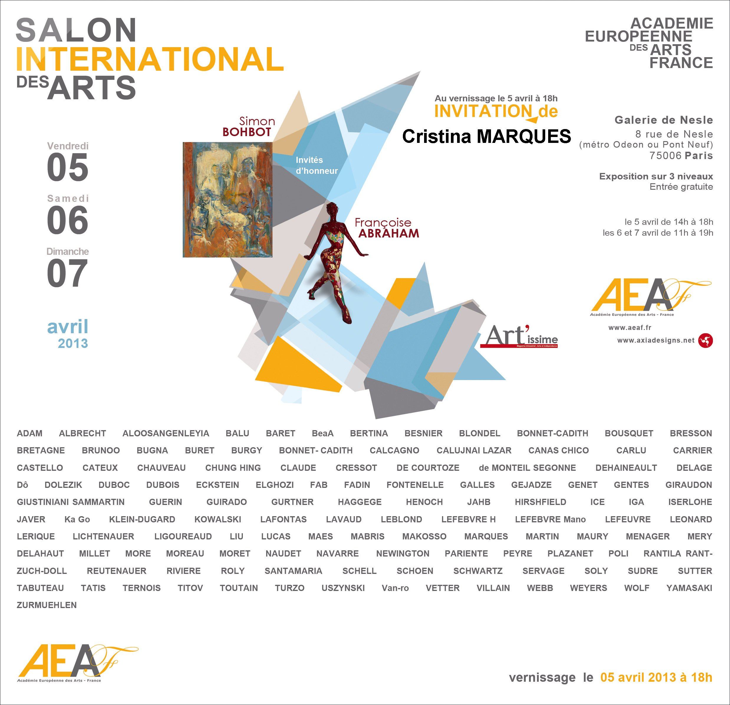 Carton d'invitation Salon AEAF 2013 Cristina MARQUES